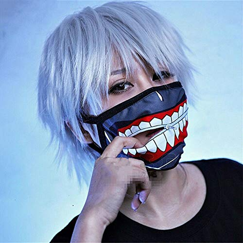 2in1 Set Tokyo Ghoul Mask + Wig, Tokyo Ghoul Kaneki Ken Mask, Outdoor Cycling Windproof Zipper Cosplay Halloween Mask, Full Face Party Costume Props Gray