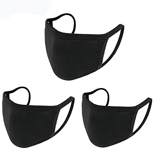 3 Pack Unisex, Washable And Reusable With Elastic Ear Loop Anti-Dust Black