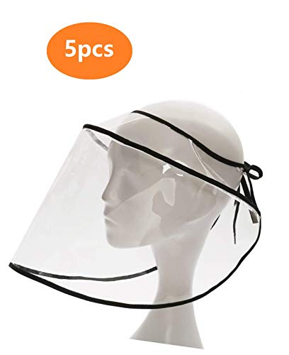 5 PCS Safety Face Shield Replacement for Fisherman Hat, Protective Face Shield Anti Saliva Droplets Spitting UV 3~7DaysDelivery(5)