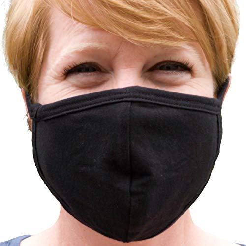 Buttonsmith Black Adult Cotton Face Mask - Two Layer Soft T-Shirt Material - Washable - Adult One Size - Made in The USA
