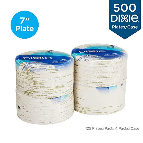 "Dixie 6 7/8"" (17.4 cm) Medium-Weight Paper Plates by GP PRO (Georgia-Pacific), Pathways, UX7WS, 500 Count (125 Plates Per Pack, 4 Packs Per Case)"
