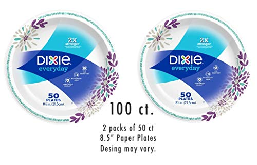 Dixie Everyday Paper Plates 8.5 inches ( 2 packs of 50ct) Design may vary