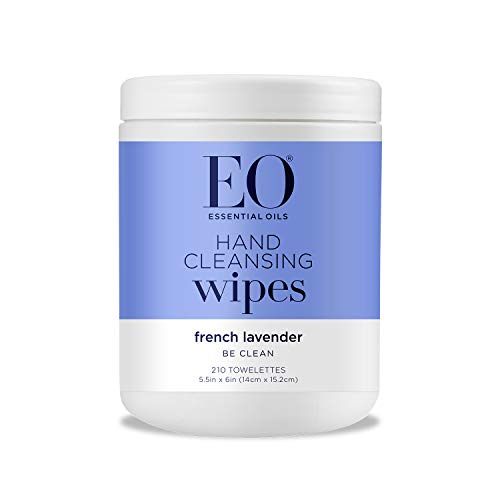 EO Hand Sanitizer Natural Fiber Hand Cleansing Wipes: Lavender, 210 Count