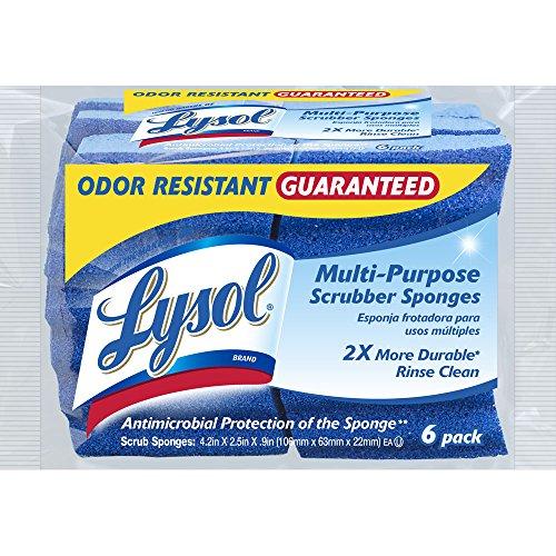 Lysol Multi-Purpose Durable Scrub Wipes Sponges, 6-Pack