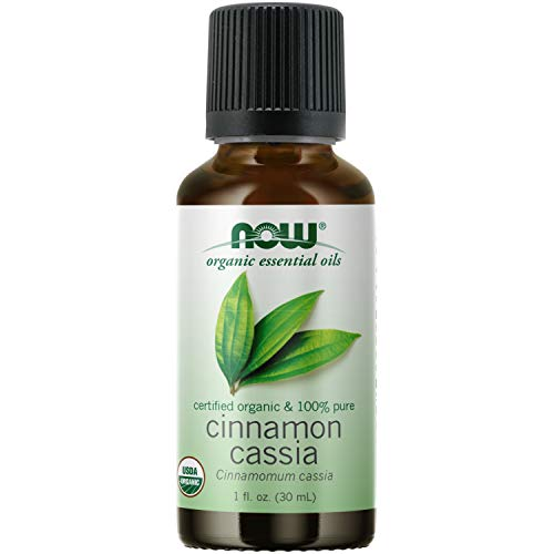 NOW Essential Oils, Organic Cinnamon Cassia Oil, Warming Aromatherapy Scent, Steam Distilled, 100% Pure, Vegan, Child Resistant Cap, 1-Ounce