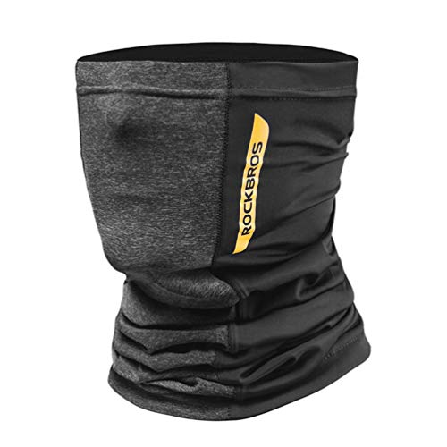 ROCK BROS Cooling Neck Gaiter Face Mask Bandana UPF50+ Sun Protection Fishing Cycling Cool Neck Gaiter Black Yellow