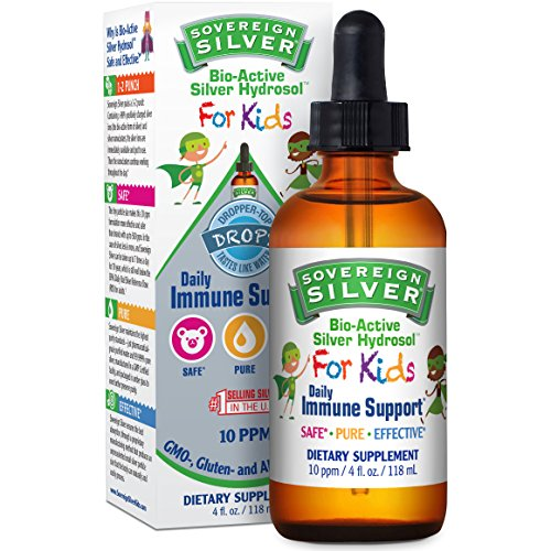 Sovereign Silver Bio-Active Silver Hydrosol for Kids for Immune Support - 10 ppm, 4oz (118mL) – Dropper