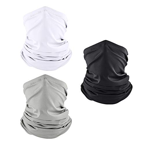 Summer Cooling Gaiter Face Mask Face Cover Unisex Sports Neck Gaiters Scarf Bandana (Multicoloured-3Packs)