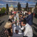 Prague celebrates end of coronavirus lockdown with massive dinner party 8