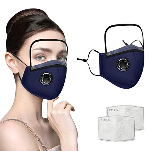 Adults Face Bandanas with Breathing Valve + Activated Carbon Filter Replaceable, Haze Face Mouth Nose Health Washable Reusable Cotton Bandana with Detachable Eye Shield (Dark Blue, 3PC)