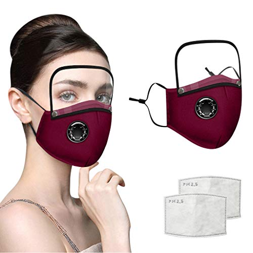 Adults Face Bandanas with Breathing Valve + Activated Carbon Filter Replaceable, Haze Face Mouth Nose Health Washable Reusable Cotton Bandana with Detachable Eye Shield (Red, 3PC)