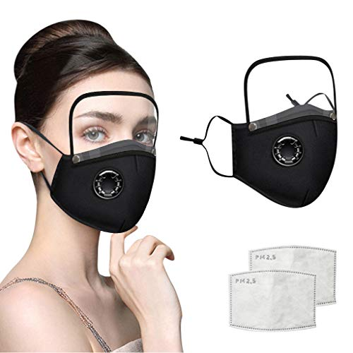 Adults Face Bandanas with Breathing Valve + Activated Carbon Filter Replaceable, Haze Face Mouth Nose Health Washable Reusable Cotton Bandana with Detachable Eye Shield (Black, 3PC)
