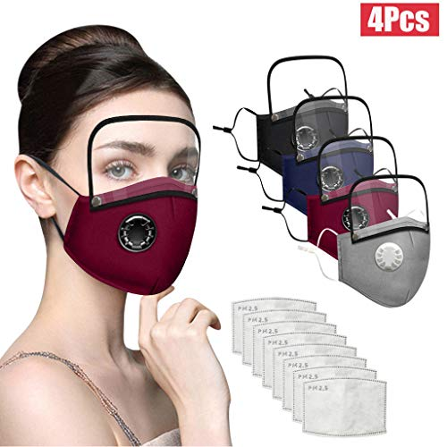 Adults Face Bandanas with Breathing Valve + Activated Carbon Filter Replaceable, Haze Face Mouth Nose Health Washable Reusable Cotton Bandana with Detachable Eye Shield (Multi, 12PC)