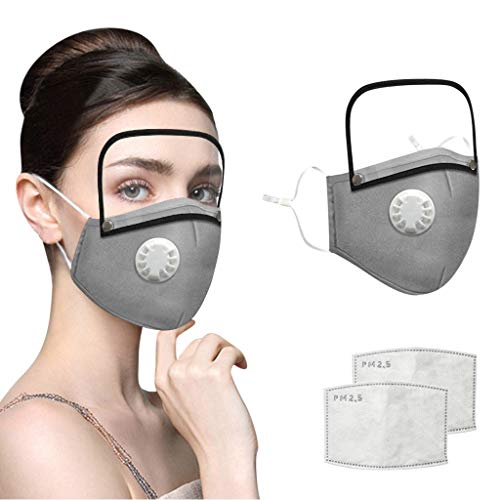 Adults Face Bandanas with Breathing Valve + Activated Carbon Filter Replaceable, Haze Face Mouth Nose Health Washable Reusable Cotton Bandana with Detachable Eye Shield (Gray, 3PC)