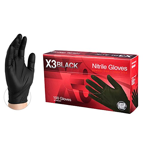 AMMEX X3 Industrial Black Nitrile Gloves, Box of 100, 3 mil, Size Small, Latex Free, Powder Free, Textured, Disposable, Non-Sterile, BX342100-BX