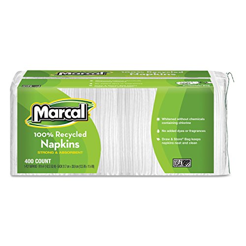 Bounty Napkins Alternative - Marcal Manufacturing, LLC 789957107498 MRC6506PK-Marcal Manufacturing, LLC Small Steps 100% Recycled Lunch Napkins, White