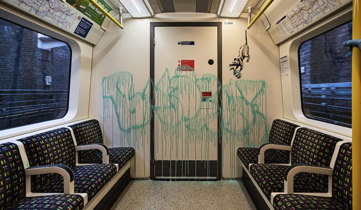 Banksy's last COVID-19 tags scrubbed from London Tube train 1