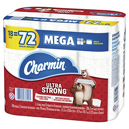 Charmin Ultra Strong Toilet Paper, Mega Roll, 18 Count of 286 Sheets Per Roll