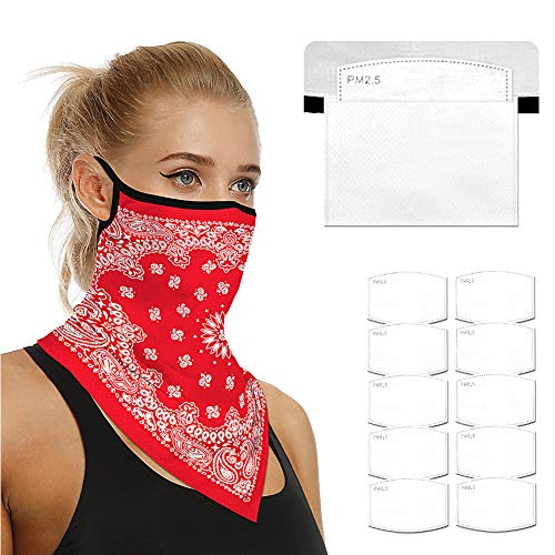 Face Scarf Bandanas Ear Loops for Men Women Balaclava Neck Gaiters Outdoor Dustproof Cover with Safety Carbon Filters 005