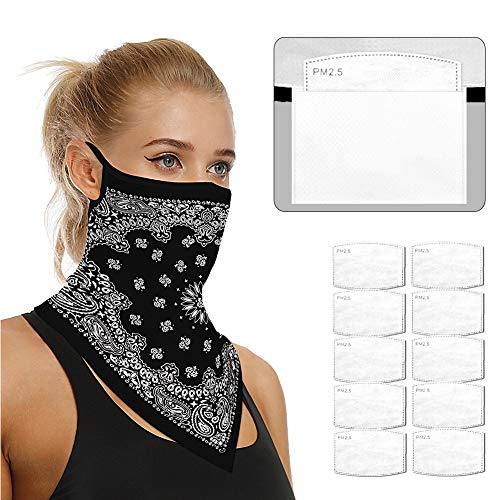 Face Scarf Bandanas Ear Loops for Men Women Balaclava Neck Gaiters Outdoor Dustproof Cover with Safety Carbon Filters 007