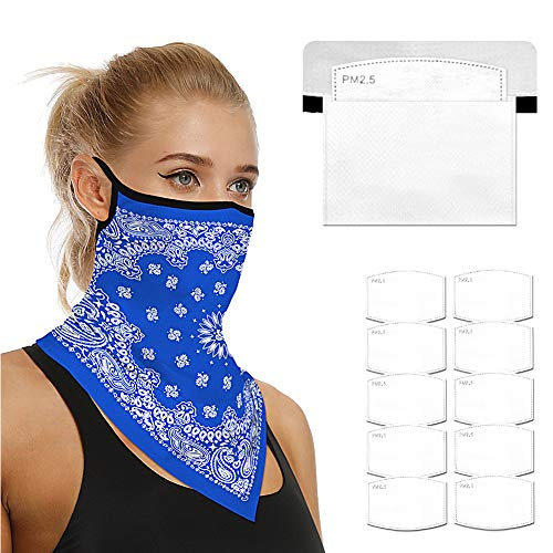 Face Scarf Bandanas Ear Loops for Men Women Balaclava Neck Gaiters Outdoor Dustproof Cover with Safety Carbon Filters 006