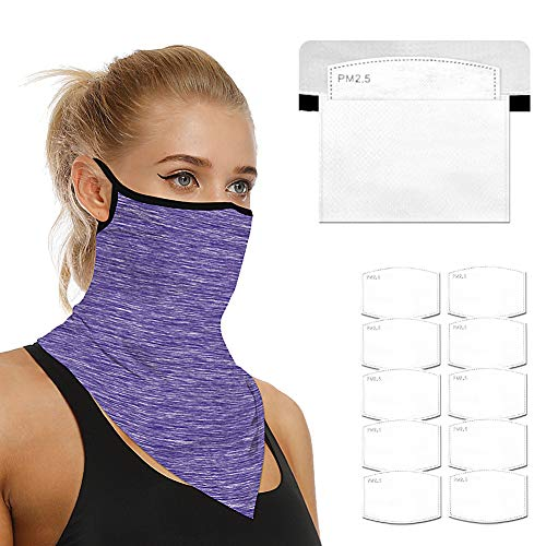 Face Scarf Bandanas Ear Loops for Men Women Balaclava Neck Gaiters Outdoor Dustproof Cover with Safety Carbon Filters (QXMZ-DAMHB01 Purple)