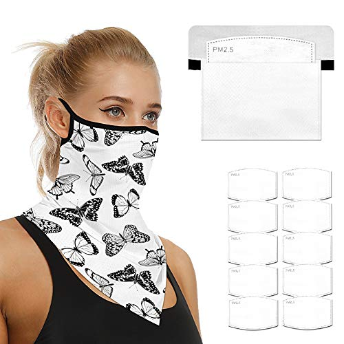 Face Scarf Bandanas Ear Loops for Men Women Balaclava Neck Gaiters Outdoor Dustproof Cover with Safety Carbon Filters (Butterflies)