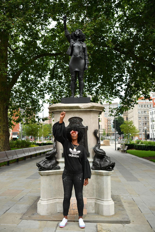 Statue of slave trader replaced with one of BLM protester 1