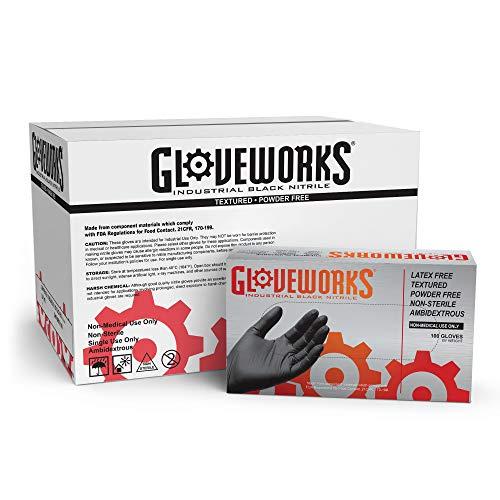 GLOVEWORKS Industrial Black Nitrile Gloves - 5 mil, Latex Free, Powder Free, Textured, Disposable, Medium, BINPF44100, Case of 1000