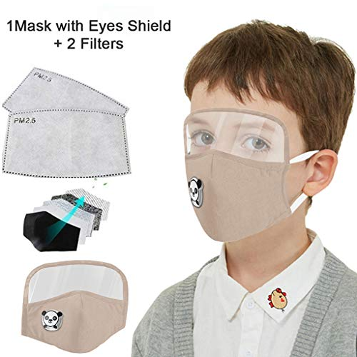 Kids Washable Reusable Dust Proof Cotton Cloth Covering with Goggles and Breathing Valve, Mouth Face Protective Gear (Beige, 1 Pcs + 2 Filters)