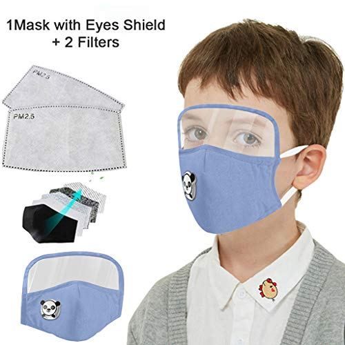 Kids Washable Reusable Dust Proof Cotton Cloth Covering with Goggles and Breathing Valve, Mouth Face Protective Gear (Blue, 1 Pcs + 2 Filters)