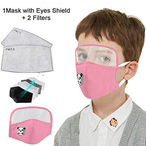 Kids Washable Reusable Dust Proof Cotton Cloth Covering with Goggles and Breathing Valve, Mouth Face Protective Gear (Pink, 1 Pcs + 2 Filters)