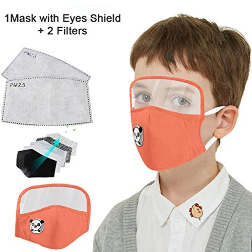 Kids Washable Reusable Dust Proof Cotton Cloth Covering with Goggles and Breathing Valve, Mouth Face Protective Gear (Black, 1 Pcs + 2 Filters)