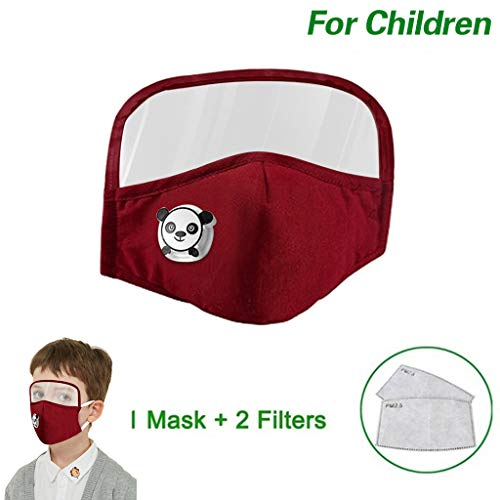 Kids Washable Reusable Dust Proof Cotton Cloth Covering with Goggles and Breathing Valve, Mouth Face Protective Gear (Wine, 1 Pcs + 2 Filters)