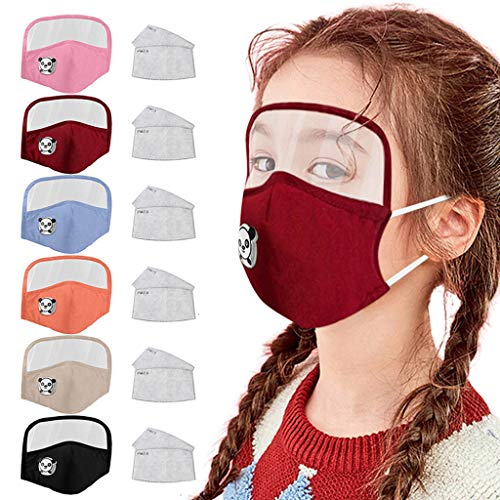 Kids Washable Reusable Dust Proof Cotton Cloth Covering with Goggles and Breathing Valve, Mouth Face Protective Gear (6 Color, 6 Pcs + 12 Filters)