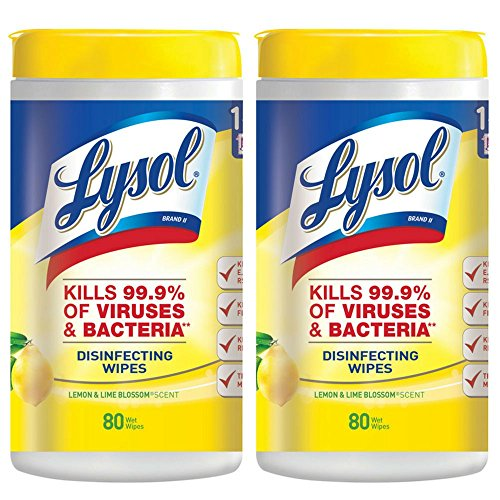 Lysol Disinfecting Wipes, Lemon and Lime Blossom, 80 ct (Pack of 2)