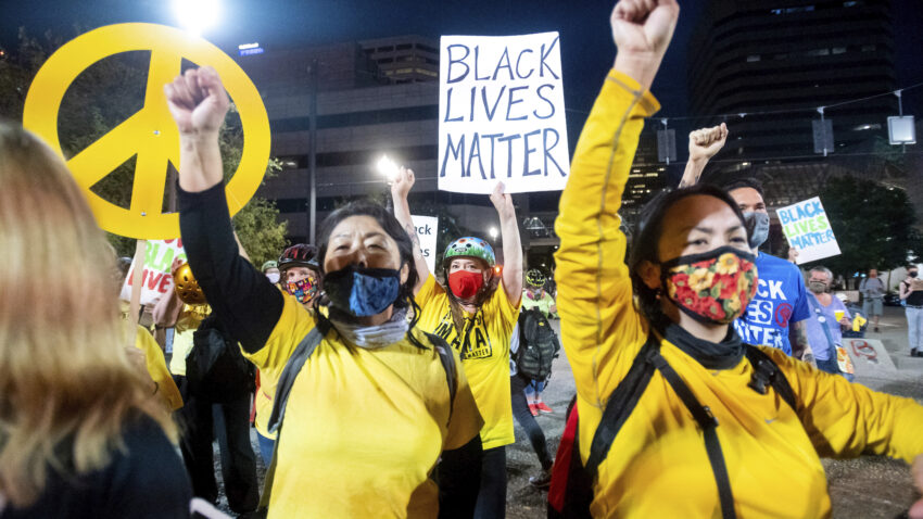 Portland protest strives for peace as U.S. forces drawn down 1