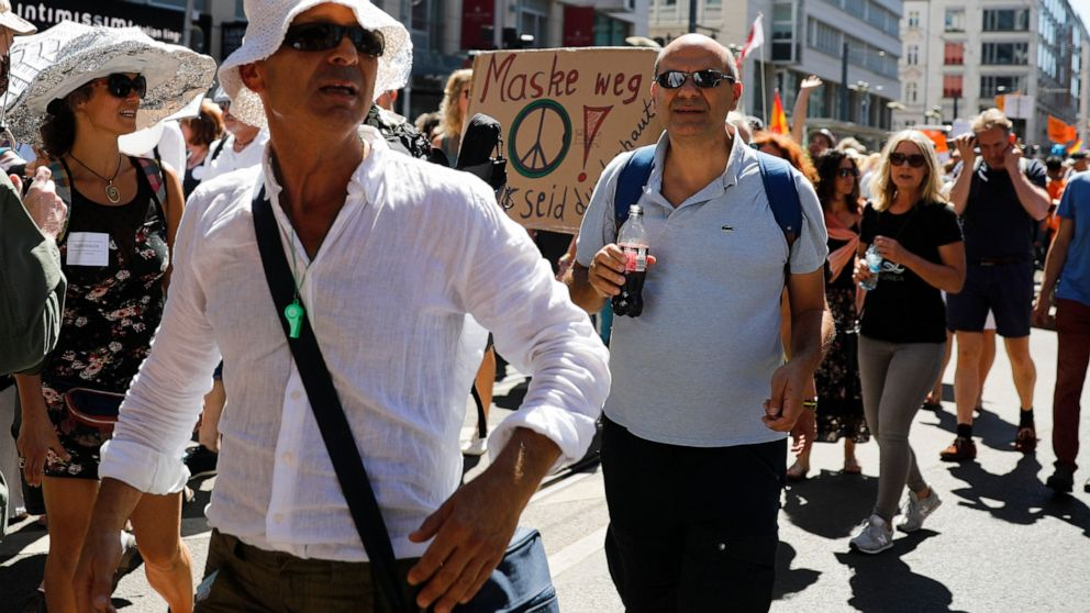 Thousands protest in Berlin against coronavirus restrictions 1