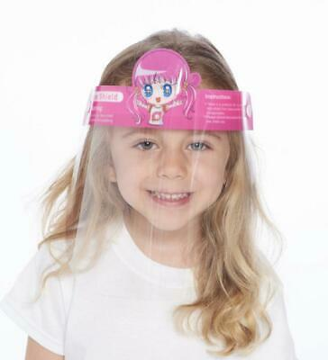 KIDS WINDPROOF DUST PROOF ISOLATION FACE HAT SHIELD VISOR PINK GIRL 1 PC