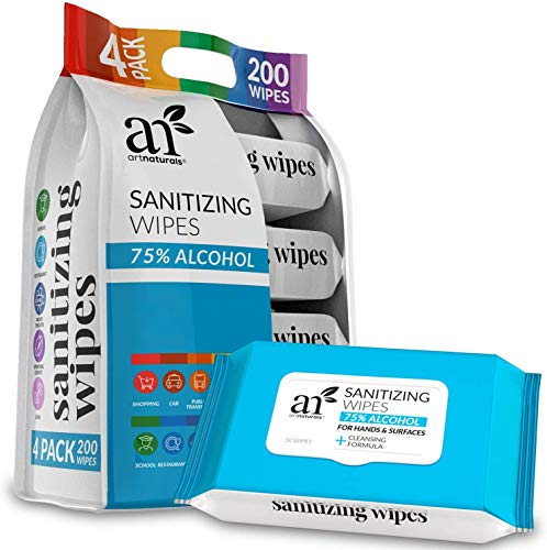 Artnaturals 75% Alcohol-Based Hand Sanitizing Wipes (4 Pack x 50PCS) Portable Hand Sanitizer Wipes Individually Wrapped unscented, Travel Size Disposable Cleaning Wet, Keep Hands Hygienic