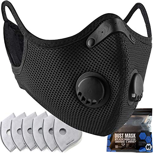 BASE CAMP M Plus Dust Face Mask 1 Pack with Extra 6 Active Carbon Filters
