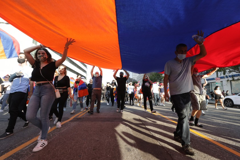 Thousands protest outside L.A.'s Turkish Consulate in solidarity with Armenia 1