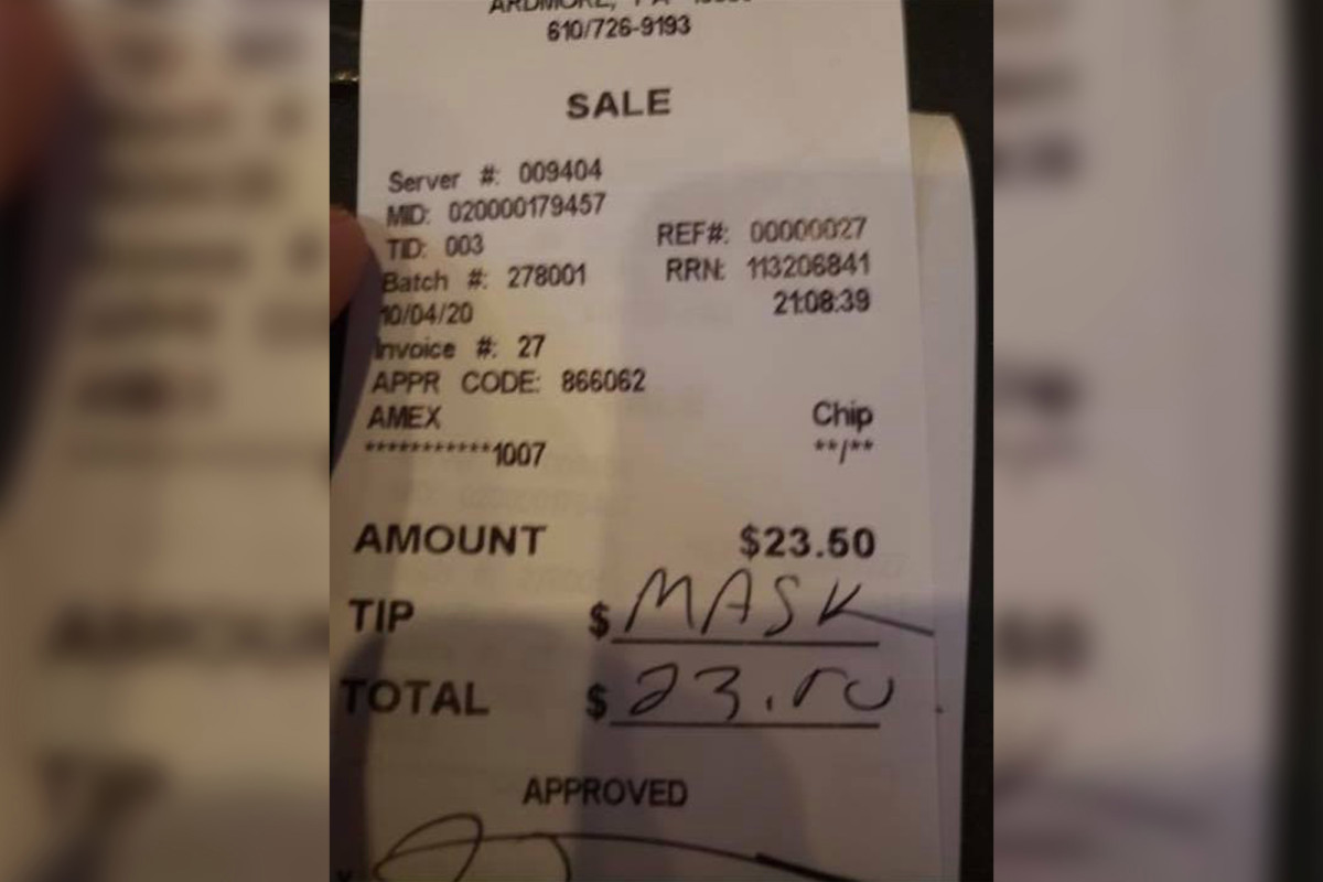 Waitress says she got no tip, rude message after telling customers to wear mask 1