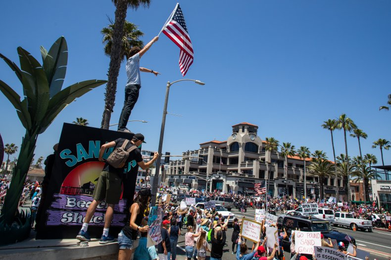 Huntington Beach COVID 'Curfew Breakers' Rally to Protest Stay-at-Home Orders 1