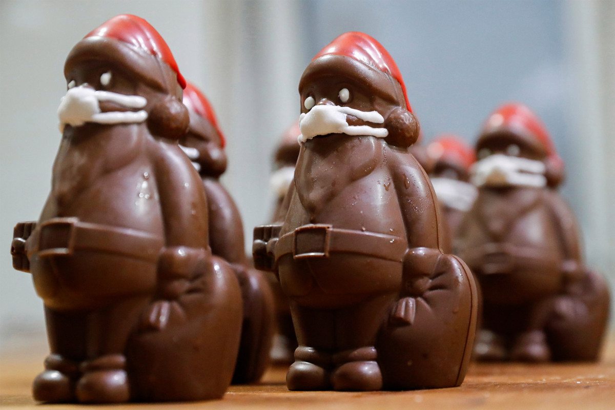 Confectioner is raking in the dough with masked chocolate Santa 1
