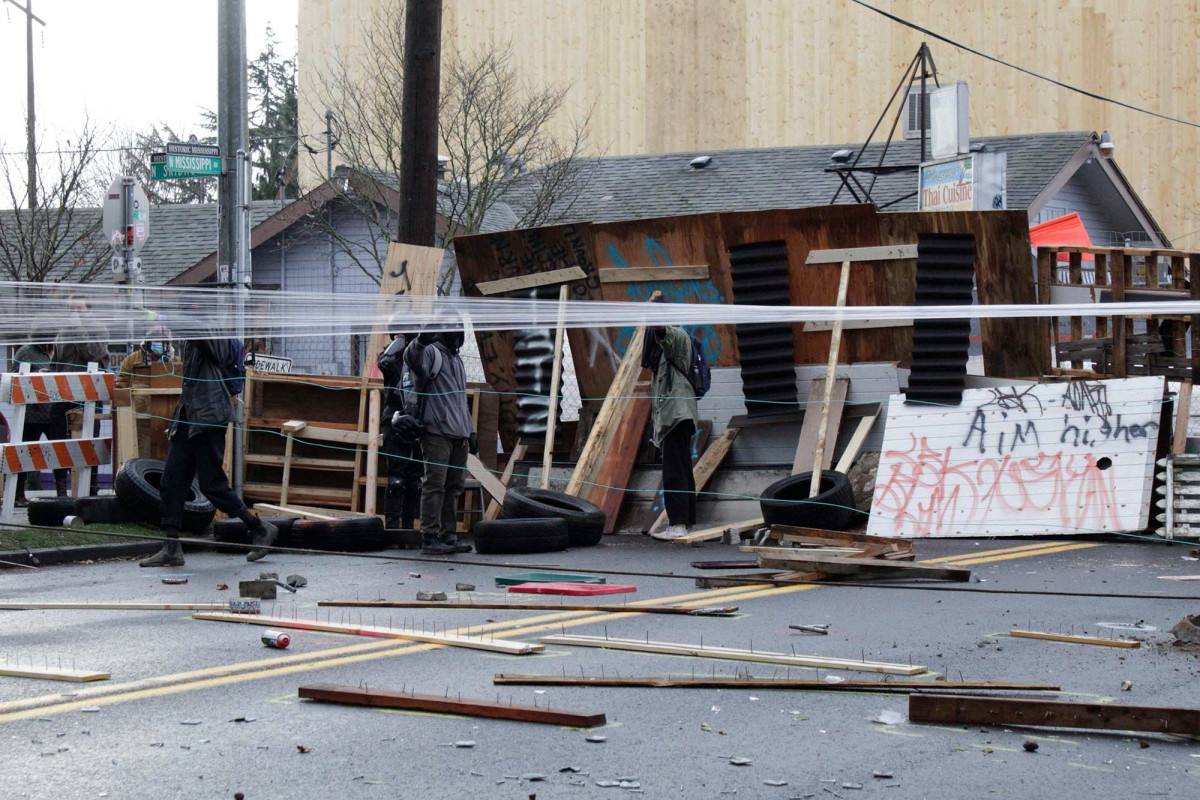 Portland protesters fighting gentrification barricade streets, set booby traps for police 1
