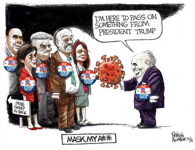 Cartoons: Giuliani has COVID-19   Relief bill stalls   Monoliths 1