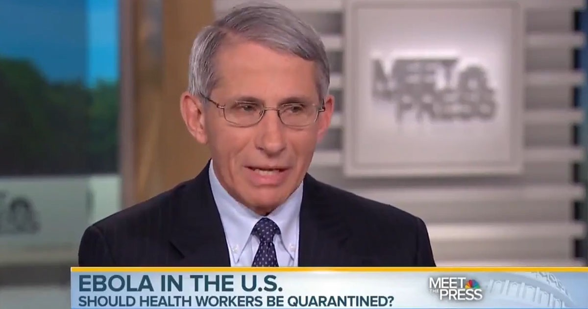Fauci Opposed 'Draconian' Ebola Quarantines For His Colleagues In 2014, Warned Of 'Unintended Consequences' 1
