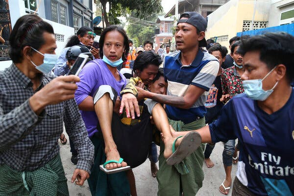 Myanmar Police Open Fire on Protesters, Killing 2 1