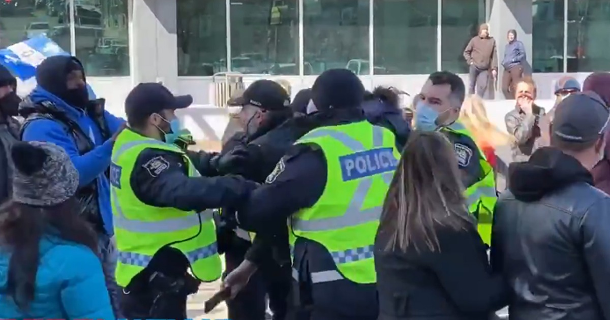 VIDEO: Police Arrest Protesters As Canadians Take To Streets Demanding End To Unscientific Lockdowns 1